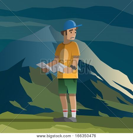 Vector illustration on the theme of hiking, backpacking, climbing, traveling, trekking, walking. Man with map lost in the mountains. Summer adventure in the mountains, outdoor recreation, vacation.