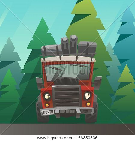 Off road red fully loaded adventure car with hoist, extra wheel and baggage. Front view. Big truck ride through the summer forest. Season activity, outdoor recreation, vacation. Vector illustration.