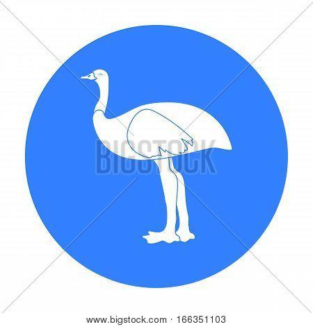 Emu icon in blue design isolated on white background. Australia symbol stock vector illustration.