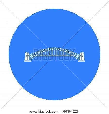 Sydney Harbour Bridge icon in blue design isolated on white background. Australia symbol stock vector illustration.