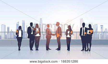 Business People Group Meeting Agreement Hand Shake Silhouettes Modern City View Office Building Vector Illustration