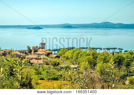 castle lake aerial lazio landscape bolsena panorama