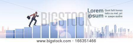 Silhouette Businessman Climb Financial Bar Graph Business Man Growth Chart Vector Illustration