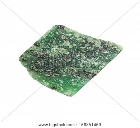 Colorful green nephrite gemstones. Semiprecious natural stone isolated on white background.