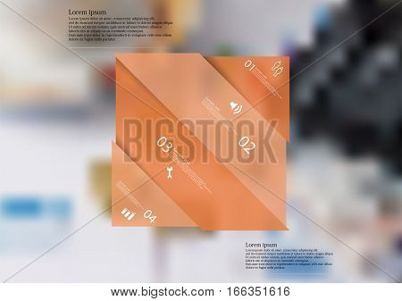 Illustration infographic template with motif of orange rectangle askew divided to four sections with simple signs. Blurred photo with financial motif with coins charts and calculator is used as background.