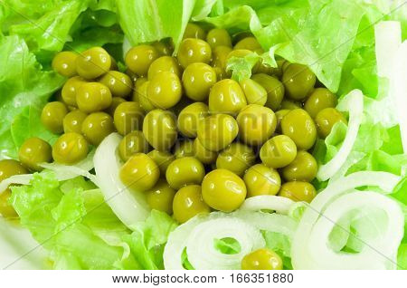 Green Salad With Canned Green Peas, Lettuce And Onion