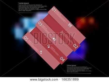 Illustration infographic template with motif of red rectangle askew divided to five sections with simple signs. Blurred photo with several game dices on black board is used as background.
