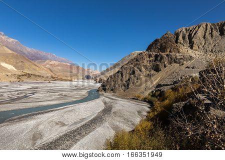 valley of Kali Gandaki river Mustang region Himalayas Nepal