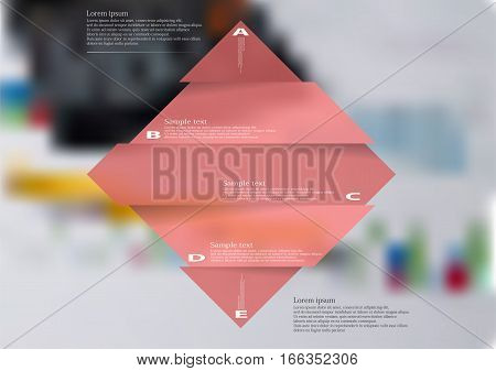 Illustration infographic template with motif of red rhombus horizontally divided to five sections with simple signs. Blurred photo with financial motif with charts and calculator is used as background.