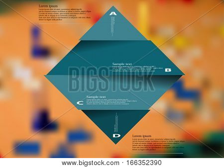 Illustration infographic template with motif of blue rhombus horizontally divided to four sections with simple signs. Blurred photo with ludo game board is used as background.