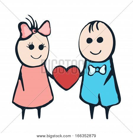 Cartoon Painted Lovers Boy And Girl With Heart On A White Background. Hand Drawing. Valentine's Day