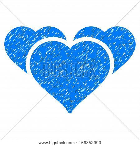 Favourite Hearts grainy textured icon for overlay watermark stamps. Flat symbol with unclean texture. Dotted vector blue ink rubber seal stamp with grunge design on a white background.