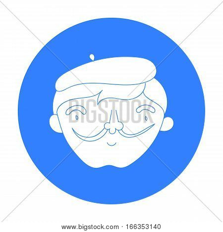 Self-portrait of artist icon in blue style isolated on white background. Artist and drawing symbol vector illustration.