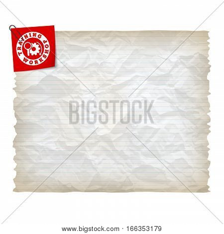 Vector crumpled lined paper and workshop icon