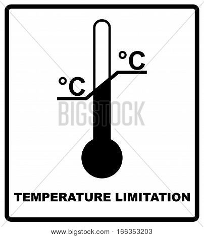 Temperature limits. Cargo signs. Temperature Sensitive. Black silhouette isolated on white. Vector illustration. Package symbol
