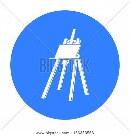 Easel with masterpiece icon in blue style isolated on white background. Artist and drawing symbol vector illustration.