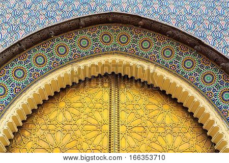 Entrance Door With Mosiac And Brass Door At The Royal Palace In Fes Morocco