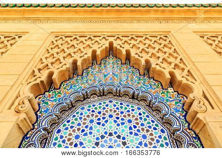 Moroccan Style Arch With Fine Colorful Mosaic Tiles At The Mohammed V Mausoluem In Rabat