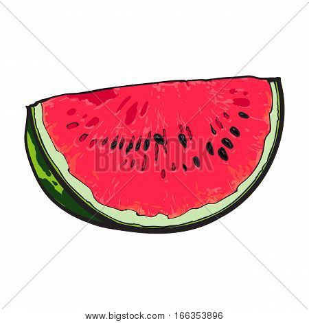Quarter slice of ripe watermelon with black seeds, sketch style vector illustration isolated on white background. Realistic hand drawing of quarter section of red ripe watermelon