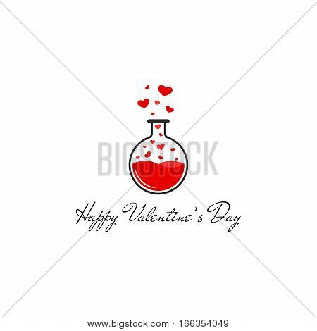 Happy Valentines Day greeting card mockup, flying red hearts, original Valentine is holiday banner white background