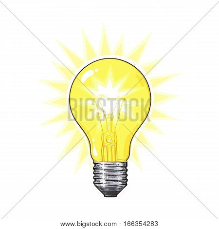 Old-fashioned glowing tungsten light bulb, side view, sketch style vector illustration isolated on white background. Realistic hand drawing of glowing retro style transparent tungsten light bulb