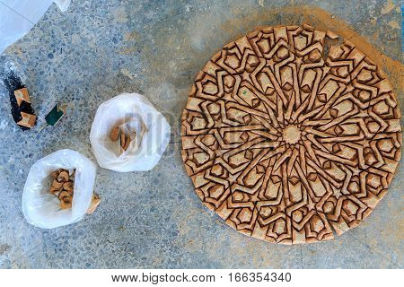 Making Of Moroccan Mosaic In A Factory Placing The Tiles Upside Down