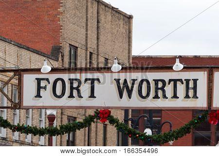 December 25, 2016 Dallas Texas: the sign at the Stockyard entrance a popular tourist destination