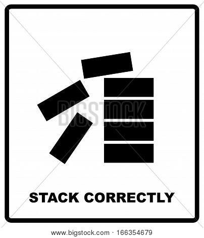 Mandatory Stack Correctly Sign. Information mandatory symbol isolated on white. Vector illustration. Black simple flat style silhouette