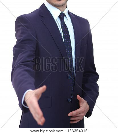 A business man with an open hand ready