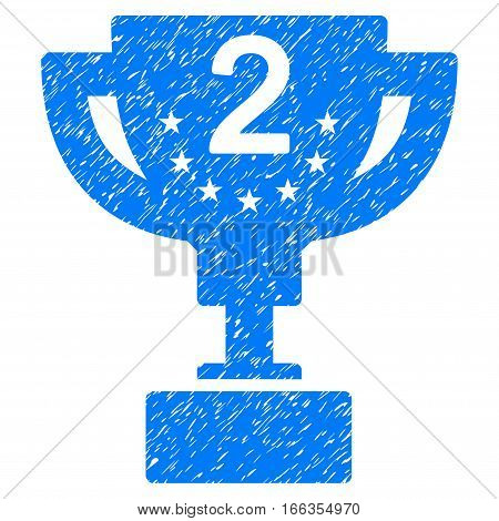 Second Prize Cup grainy textured icon for overlay watermark stamps. Flat symbol with unclean texture. Dotted vector blue ink rubber seal stamp with grunge design on a white background.