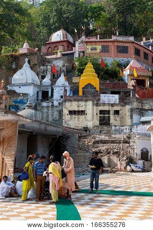 JWALAMUKHI, INDIA. June 3, 2009:  Pilgrims  in the Jwalamukhi Devi Temple. Jawalamukhi, Kangra district, Himachal Pradesh, India.