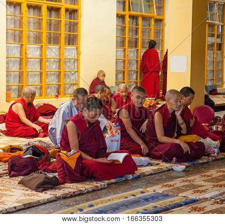 DHARAMSALA, INDIA. 2 Jun 2009: Daily lifestyle of the monks in a Buddhist monastery. Residence of His Holiness the Dalai Lama XIV. McLeod Ganj, Western Himalayas, Himachal Pradesh, district of Kangra.