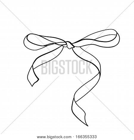A bow ribbon gift in a vintage woodcut engraved etching style. Design element isolated
