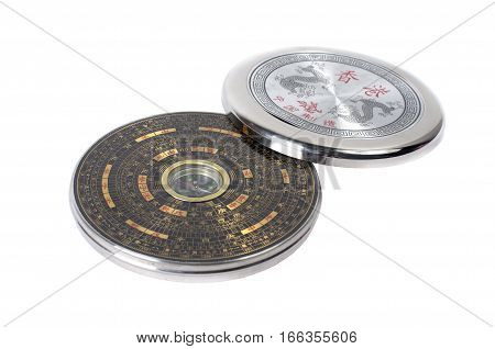 Chinese Magnetic Compass - Luopan. Isolated On White Background.