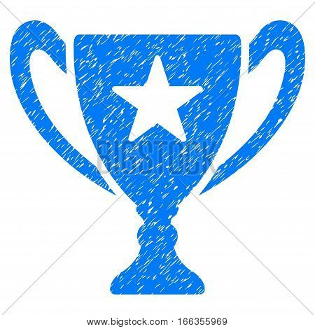 Trophy Cup grainy textured icon for overlay watermark stamps. Flat symbol with scratched texture. Dotted vector blue ink rubber seal stamp with grunge design on a white background.