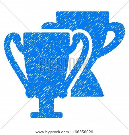 Trophy Cups grainy textured icon for overlay watermark stamps. Flat symbol with dust texture. Dotted vector blue ink rubber seal stamp with grunge design on a white background.