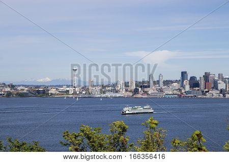 Seattle downtown, Space Needle and Puget Sound