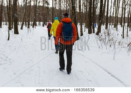 Young people at winter walk in wood