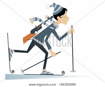 Cartoon smiling young woman biathlon competitor illustration