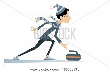 Woman plays curling. Cartoon curling player woman illustration