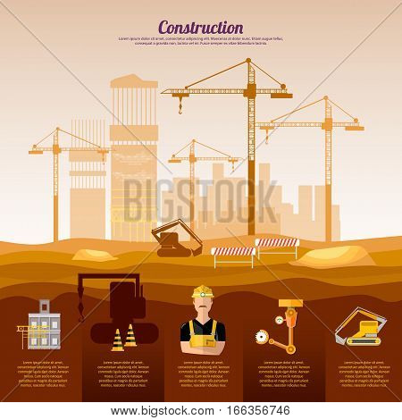 Construction site infographics design template industrial background. Сonstruction equipment builder on building site