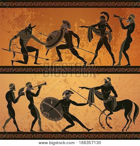 Ancient Greece banner. Black figure pottery hunting for a Minotaur gods warrior centaur. Classical Ancient Greek style