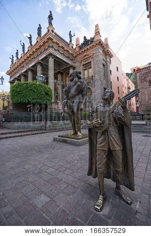 January 19, 2016 Guanajuato Mexico: the colonial architecture dominated Union plaza in front of Teatro Juarez in a very popular touristy spot