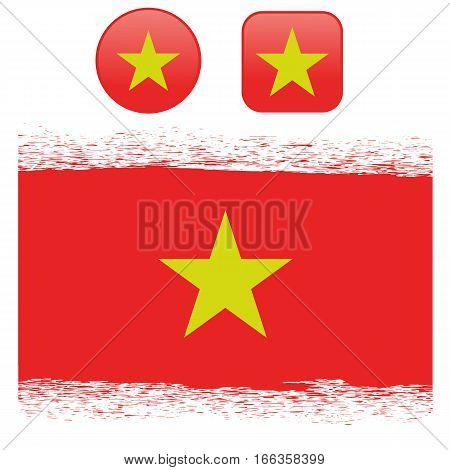 Colored Vietnam Flag with Details and Grunge Texture Isolated on White Background