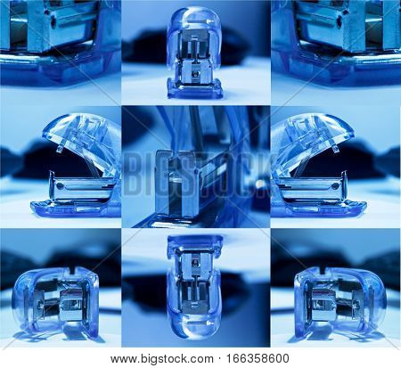 Staplers arrangement. Blue office staplers arrangement close up