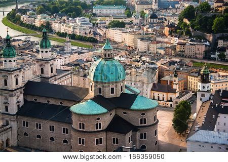 View Of Salzburger Dom And The City In The Evening, Salzburg,  Austria