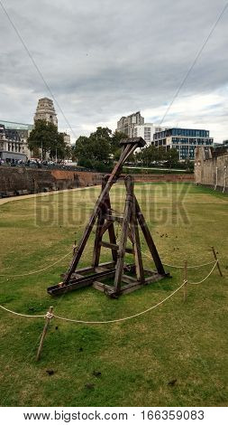 Historic catapult outside of the Tower of London.