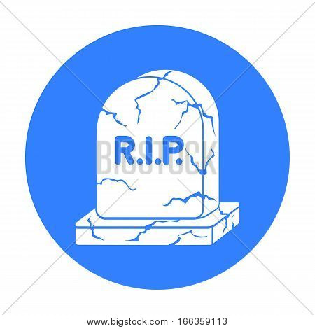 Headstone icon in blue style isolated on white background.