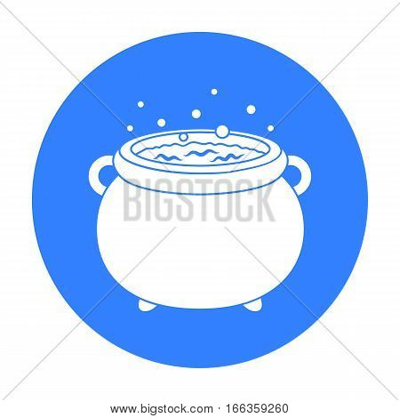 Witch s cauldron icon in blue style isolated on white background.