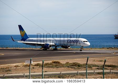ARECIFE, SPAIN - DESEMBER, 2 2016:  A Boeing 757-300 of Condor at Lanzarote Airport